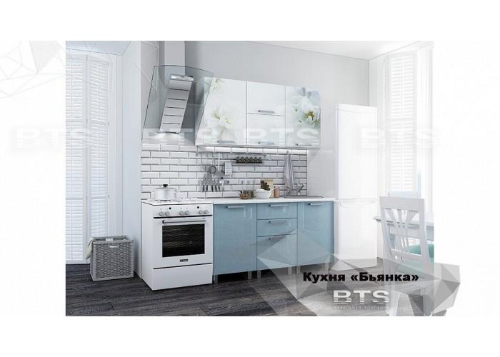 Кухня 1,5 Бьянка Голубые блестки в Калуге