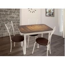 Обеденная группа Стиль 1 mini Wood/белый муар  + 3 стула Эконом/белый муар коричневый