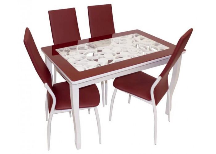 Обеденная группа, Стиль 2 Ажур III бордовый/триумф белый + 4 стула F68 белый муар/бордо в Калуге