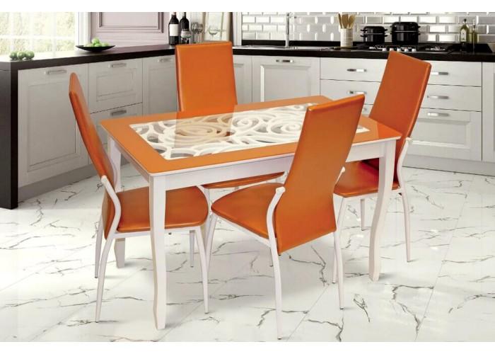 Обеденная группа, Стиль 2 Ажур оранжевый/триумф белый + 4 стула F68 белый муар/терракотовый в Калуге