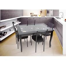 Обеденная группа Стиль 2 Ажур/триумф венге + 4 стула Тюльпан МИС коричневый муар/коричневый