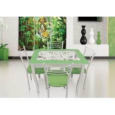 Обеденная группа Стиль 2 mini Ажур салатовый/триумф белый + Тюльпан белый муа/салатовый