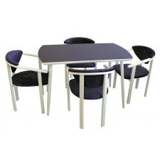 Обеденная группа Стиль 3 темно синий/белый муар + 4 стула МИС 3 белый муар /синий бархат