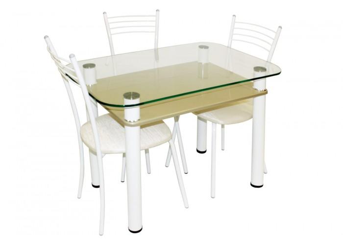 Обеденная группа Стол 3.4 капучино/д60 белый муар + 4 стула Эконом МИС белый муар/белый в Калуге