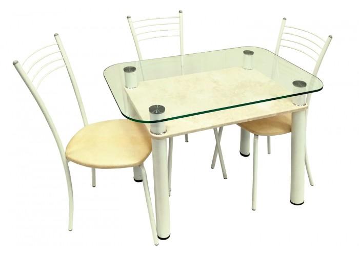 Обеденная группа Стол 3.4 стоун крем/д60 белый глянец + 4 стула Эконом МИС белый глянец/бежевый в Калуге