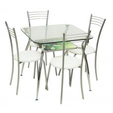Обеденная группа Стол А611 ДП37 + 4 стула Эконом МИС пунто белый