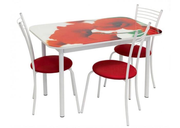 Обеденная группа Стол Стиль 1 ДП48/д40 белый муар + 4 стула Эконом МИС белый муар/красный в Калуге