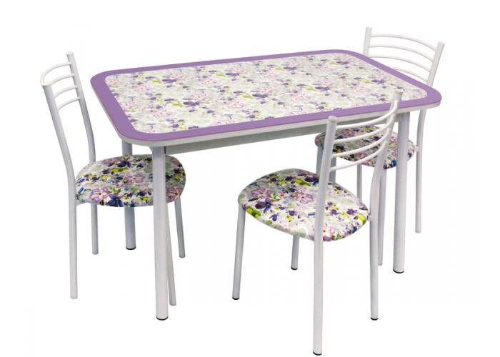 Обеденная группа Стол Стиль 1 фиалка фиолетовый/д40 белый муар + 4 стула Тюльпан МИС белый муар/фиалка в Калуге