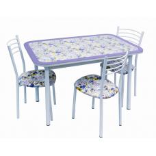 Обеденная группа Стиль 1 + 4 стула Тюльпан МИС фиалка фиолетовый д.40 бел глянец + 4 стула Тюльпан МИС бел глянец/фиалка