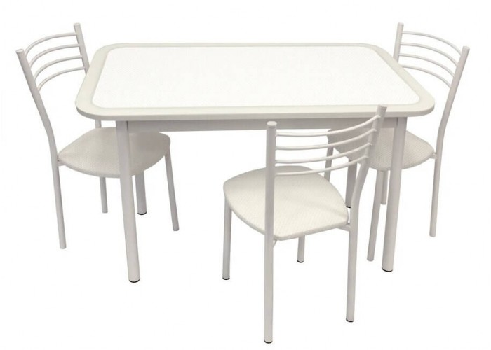 Обеденная группа Стол Стиль 1 пунто белый/д40 белый муар + 4 стула Тюльпан МИС белый муар/пунто белый в Калуге