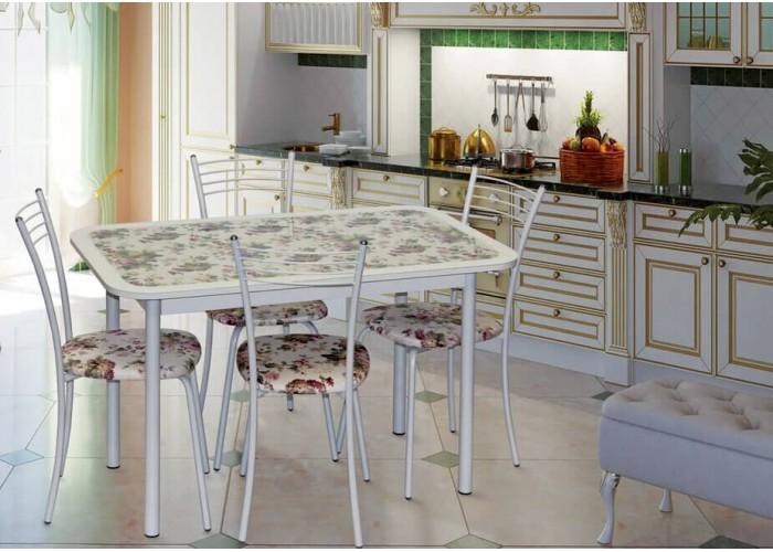 Обеденная группа Стол Стиль 1 Прованс /д40 белый муар + 4 стула Эконом МИС белый муар/прованс в Калуге