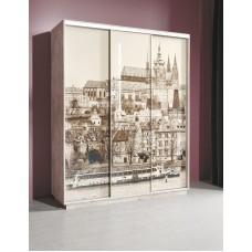 Шкаф-купе Леон 2 с фотопечатью на стекле Прага трехдверный 1770