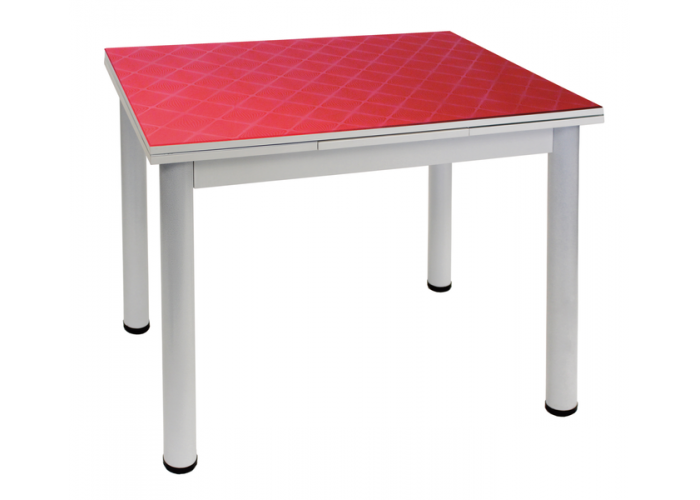 Стол обеденный 2.2 mini фуджи бордовый перламутр/д.50 белый муар в Калуге