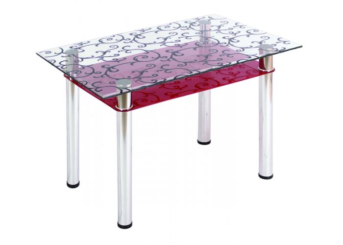 Стол обеденный 3.4 ДП28 прозрачный/красный в Калуге