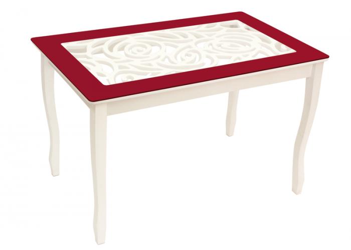 Стол обеденный Стиль 2 Ажур бордовый/триумф белый в Калуге