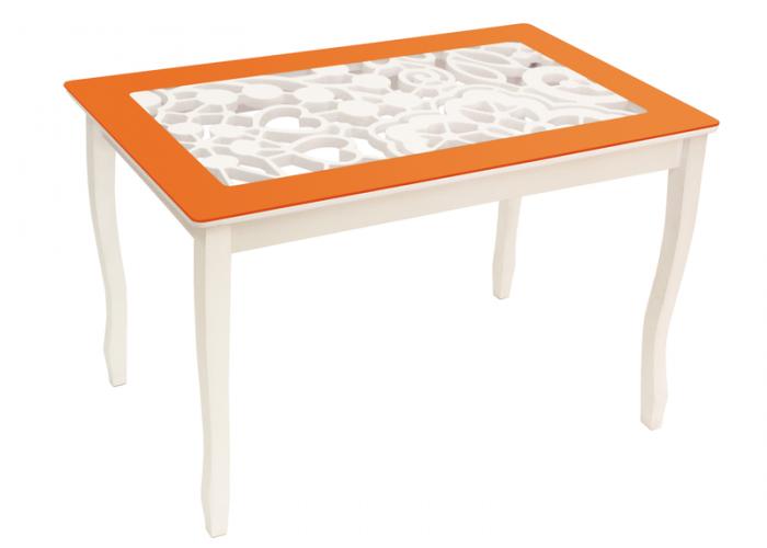 Стол обеденный Стиль 2 Ажур III оранжевый/триумф белый в Калуге