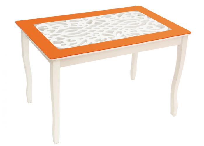 Стол обеденный Стиль 2 Ажур IV оранжевый/триумф белый в Калуге