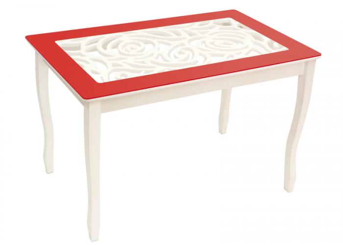 Стол обеденный Стиль 2 Ажур красный/триумф белый в Калуге