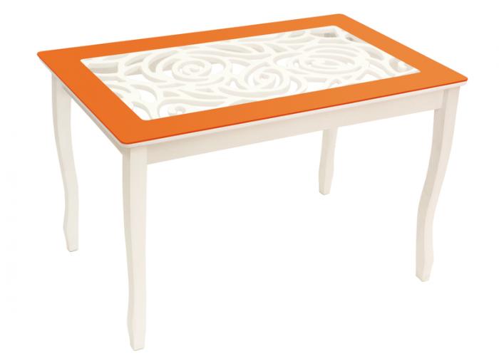 Стол обеденный Стиль 2 Ажур оранжевый/триумф белый в Калуге
