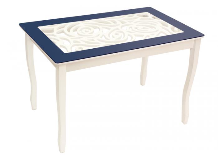 Стол обеденный Стиль 2 Ажур тёмно-синий/триумф белый в Калуге