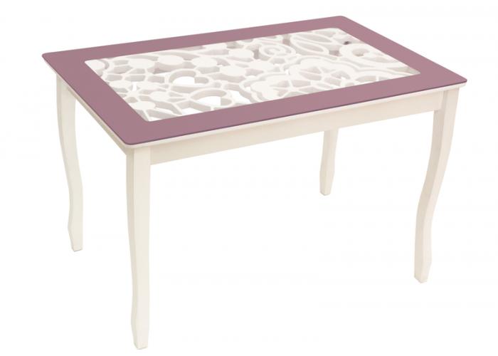 Стол обеденный Стиль 2 mini Ажур III фиолетовый/триумф белый в Калуге