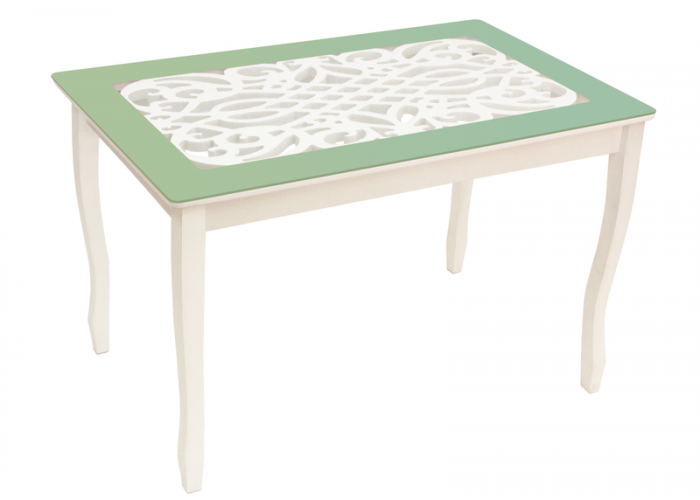 Стол обеденный Стиль 2 mini Ажур III оливковый/триумф белый в Калуге