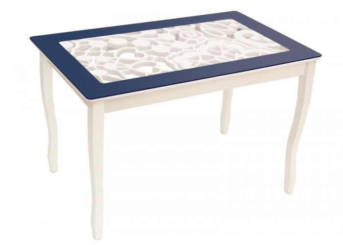 Стол обеденный Стиль 2 mini Ажур III тёмно-синий/триумф белый в Калуге