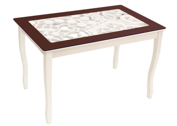 Стол обеденный Стиль 2 mini Ажур III венге/триумф белый в Калуге