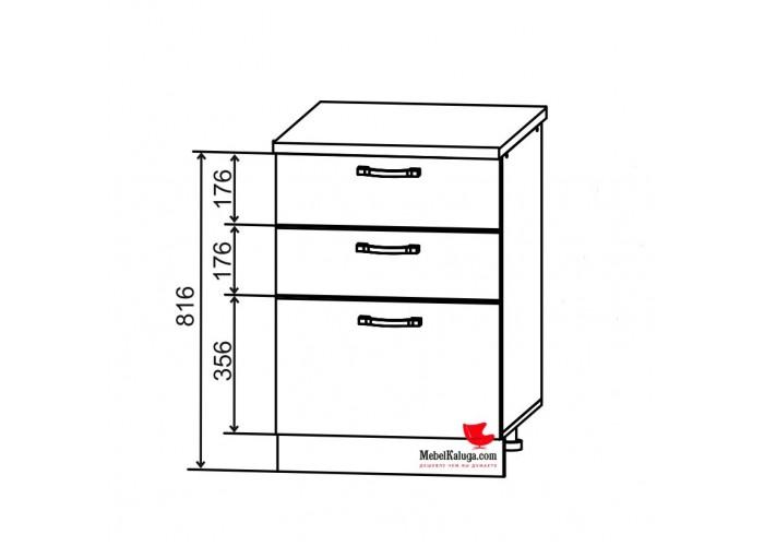 Шкаф нижний 3 ящика СЯ 600 Гарда в Калуге