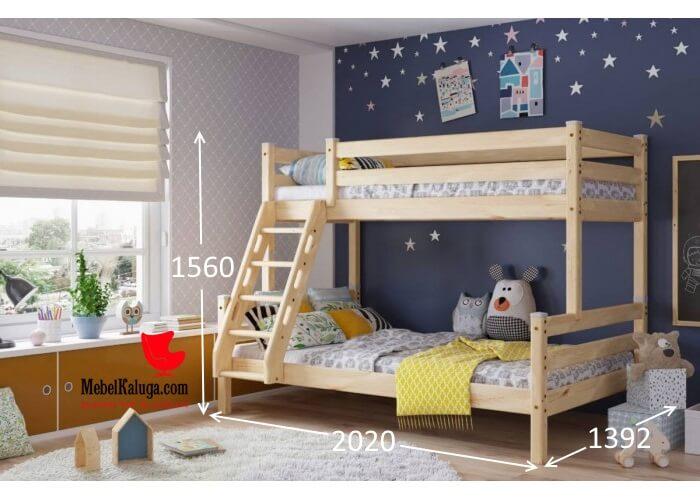 Кровать двухъярусная с наклонной лестницей Адель в Калуге